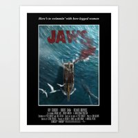 1975 Art Prints featuring Jaws - 1975 variant by Andy Fairhurst Art