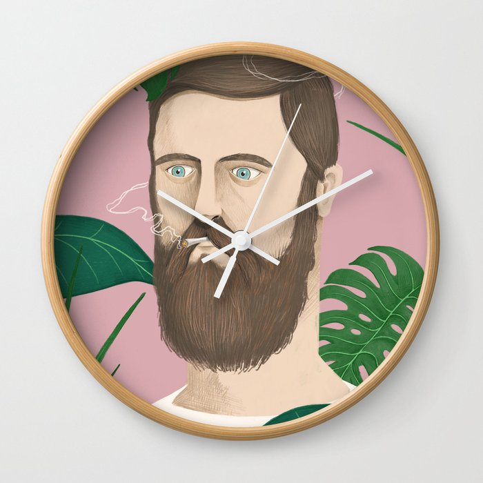 Man plants and cigarettes Wall Clock