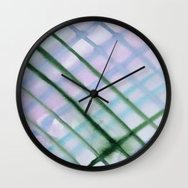 Intersection of greens || watercolor Wall Clock