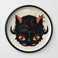 devil Wall Clocks featuring Devil cat by Exit Man