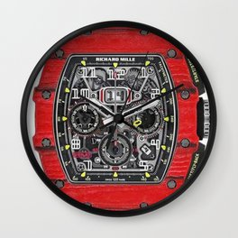 Richard Mille 11-03 Flyback Red Quartz TPT NTPT in Carbon on Red Rubber Strap with Transparent Dial Wall Clock