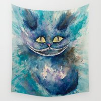 cheshire cat Wall Tapestries featuring Ink Cheshire Cat by Claudia Feher