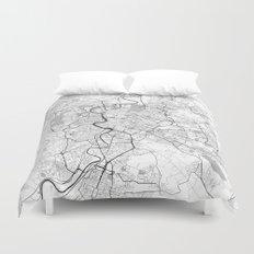 Rome City Map Gray Duvet Cover