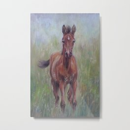 Baby Horse, Foal in the spring meadow, Cute Horse portrait Pastel drawing Metal Print