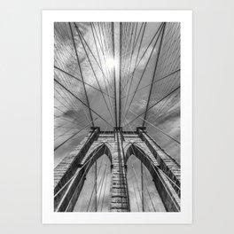 NEW YORK CITY Brooklyn Bridge in Detail   monochrome Art Print