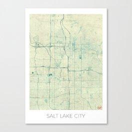 Salt Lake City Map Blue Vintage Canvas Print