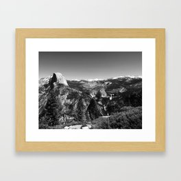 Half Dome and Waterfalls from Glacier Point in Yosemite Valley National Park (Black and White) Framed Art Print