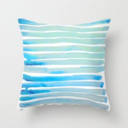 New Year Blue Water Lines Throw Pillow