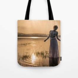 Topless Female Model At Sunset Tote Bag