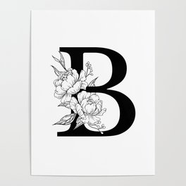 B botanical monogram. Letter initial with peonies Poster