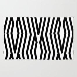 Geometric Retro Stripes Black and White Abstract Modern Rug