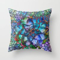 succulent Throw Pillows featuring Succulent by Klara Acel