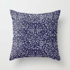 Chalkboard Floral Doodle Pattern in Navy & Cream Throw Pillow