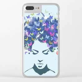 Woman with the hair made of butterflies Clear iPhone Case