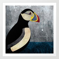 puffin Art Prints featuring puffin by John Beswick