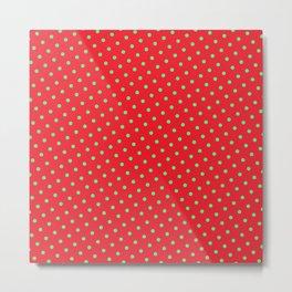 Retro Christmas Green Polka Dots Red Background Metal Print