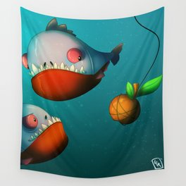 Hungry Piranhas Wall Tapestry