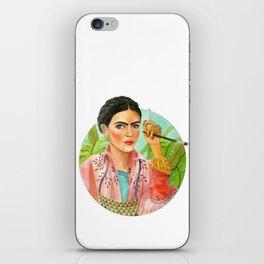 Frida Kahlo. Portrait with brush iPhone Skin