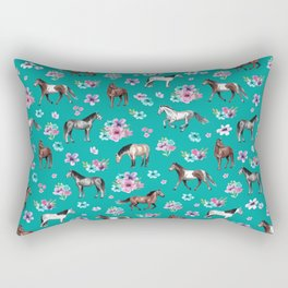 Horse Pattern, Floral Print, Turquoise, Little Girls Room, Horses Rectangular Pillow