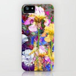 PINK-YELLOW PURPLE IRIS GARDEN GREY ART iPhone Case