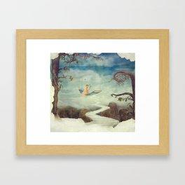 Little girl on the swing in the  fantastic country in sky  Framed Art Print