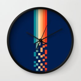 Classic 70s Style Abstract Rainbow Retro Stripes Pixel Drops - Ayako Wall Clock