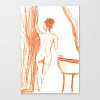 bath Canvas Prints featuring bath by Annabelle Paré