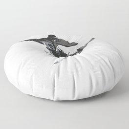 Snowboard Jumping Cartoon Floor Pillow