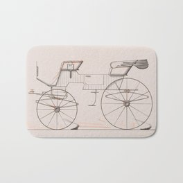 Design for 2 seat Phaeton no.3035a 1874 Brewster Co // Retro Drawing Vehicle Transportation Bath Mat