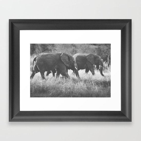 Grazing Elephants Framed Art Print