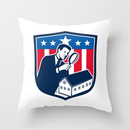 American School Inspector  USA Flag Icon Retro Throw Pillow