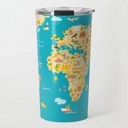 Animal map for kid. World vector poster for children, cute illustrated Travel Mug