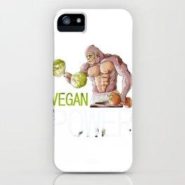 Vegan Power Design, Vegan Weight Training Weightlifting Gym Workouts iPhone Case
