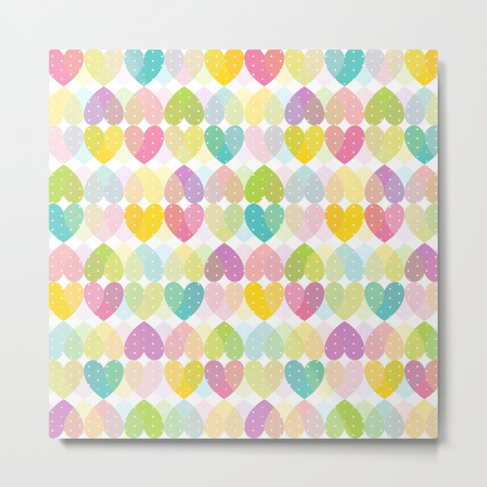 Colorful Sweet Candy Heart Pattern I Metal Print