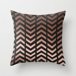 Rose gold and black chevron Throw Pillow