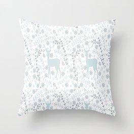 Winter floral deer Throw Pillow