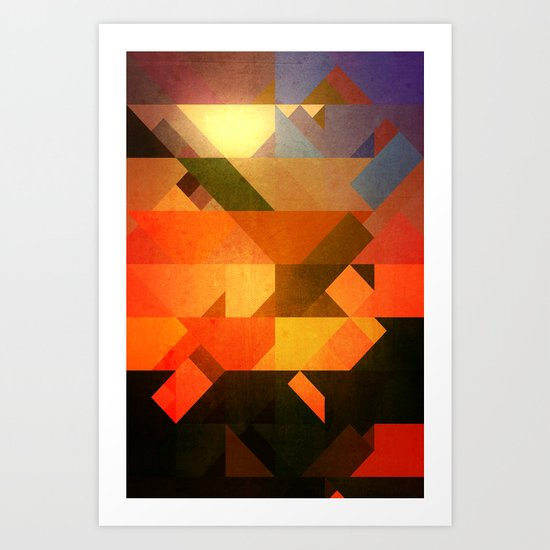 Retro Triangle and Texture Art Print