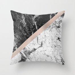 Monochrome marble designer - rose gold Throw Pillow