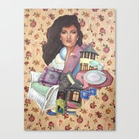 charmaine olivia Canvas Prints featuring Olivia by Mel Coleman