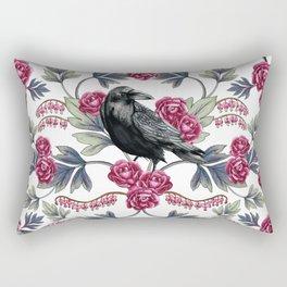 Crows, Bleeding Hearts & Roses Floral/Botanical Pattern Rectangular Pillow