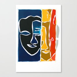 Two Face Monotype Canvas Print