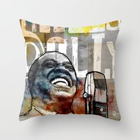 louis armstrong Throw Pillows featuring Louis Armstrong: Hello Dolly! by Ed Pires