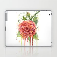 Red Rose Dripping Watercolor Flower Laptop & iPad Skin