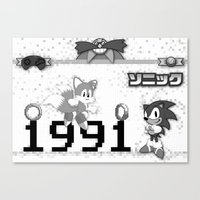 sonic Canvas Prints featuring Sonic by Small Worlds