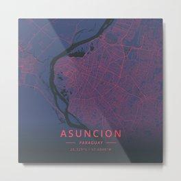 Asuncion, Paraguay - Neon Metal Print
