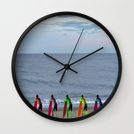 Patient Surfer - Neon - Waiting In Line Wall Clock