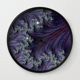 Purple Violet Wispy Feathery Elegant Fancy Beautiful 3D Swirling Flourish Abstract Fractal Art Wall Clock