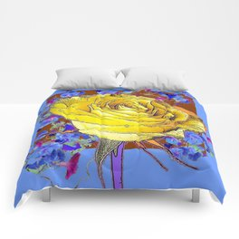 GRAPHIC YELLOW ROSE BLUE FLOWERS BROWN ART Comforters