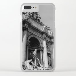 Monochrome Trevi Fountain Clear iPhone Case