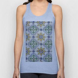 Painted Tiles - Green Yellow Blue Unisex Tank Top